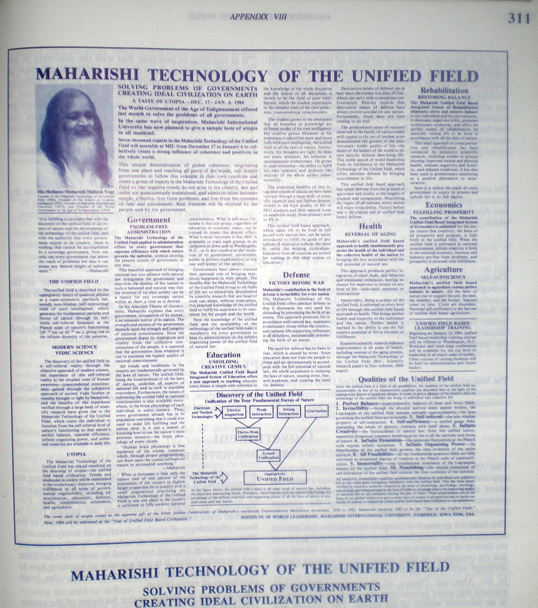 TEHNOLOGIA lui MAHARISHI pentru CAMPUL UNIFICAT